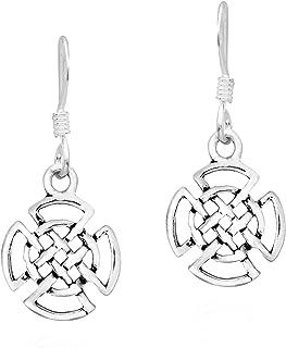 Quaternary Celtic Knots Wheel Symbol .925 Sterling Silver Dangle Earrings