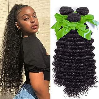 Ali Bling 8A Virgin Brazilian Hair Deep Curly Wave 3 Bundles Human Hair Bundles Hair Weave Hair Extensions Natural Color(18 20 22)