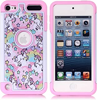 Apple iPod Touch 5,6th Case, iPod 7th Generation Case, Rainbow Unicorn Pattern Shockproof Studded Rhinestone Crystal Bling Hybrid Case Silicone Protective Armor for Apple iPod Touch 5 6th Generation
