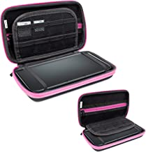 3DSXL Case, Orzly Carry Case for New 3DS XL or Original Nintendo 3DS XL - Protective Hard Shell Portable Travel Case Pouch for 3DS XL Consoles with Slots for Games & Zip Pocket - PINK on Black