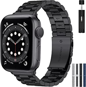 RARF Metal Band Compatible with Apple Watch 38mm 40mm 42mm 44mm for Women Men, Replacement Stainless Steel Strap Wristband Bracelet Compatible with iWatch Series SE/6/5/4/3/2/1(Black, 38/40mm)