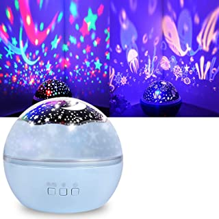 Starry Ceiling Night Light Projector,Shayson Moon Star Night Light Ocean Projection Lights Warm White Light 8 Colors Chang...