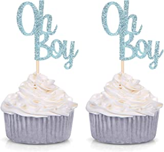 e4539695 Giuffi Blue Glitter Oh Boy Cupcake Toppers Baby Shower Party Supply Decorations  Picks