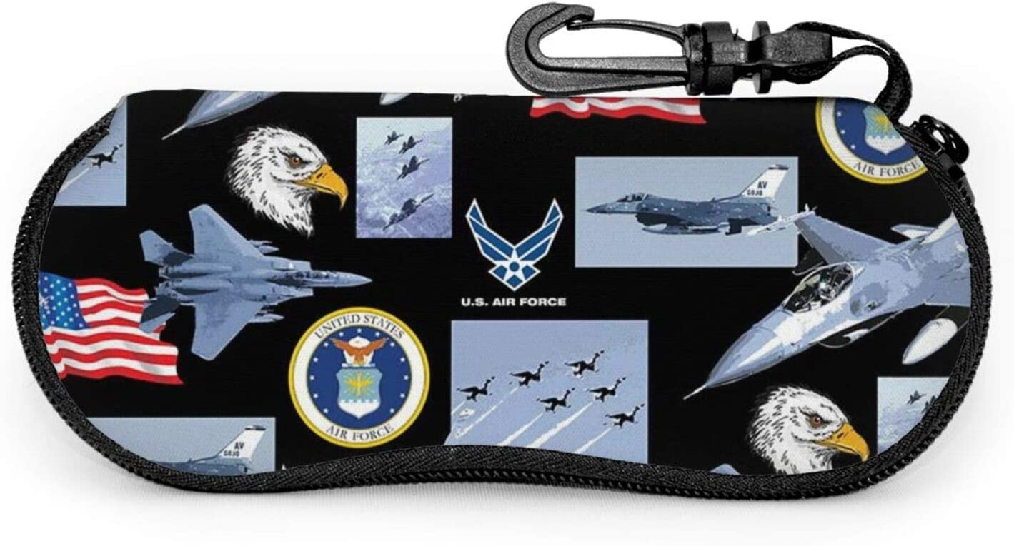 TYUO Sunglasses Soft Zipper Case Eyeglass Cases with Belt Clip Us Air Force Eagle USA Flag Ultra Light Glasses Pouch
