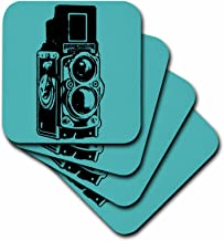 3dRose CST_20708_4 Picture of a Vintage Twin Lens Reflex TLR Camera on Cyan Ceramic Tile Coasters, Set of 8