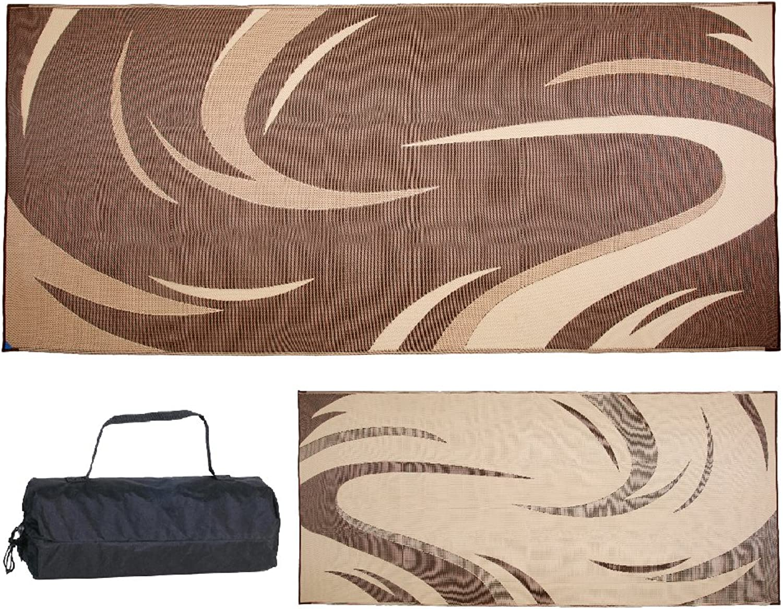 Stylish Camping Brown Tan 8'x 18' Ming'S Mark SD8187 Mat Graphic Swish 8 X 18
