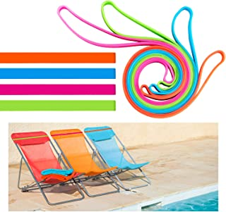 Beach Towel Holder Clips Towel Keeping Accessories Multipurpose Silicone Rubber Bands Clips Chairs for Beach Pool Lounge Cruise Ship Chairs, 4 Colors (8)