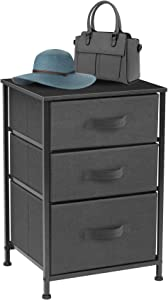 Sorbus Nightstand with 3 Drawers - Bedside Furniture & Accent End Table Chest for Home, Bedroom Accessories, Office, College Dorm, Steel Frame, Wood Top, Easy Pull Fabric Bins (Black/Charcoal)