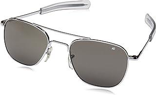 Authentic AO Eyewear Silver Frame Bayonet Temple True Color Grey Glass Lens Sunglasses USMC USAF USN