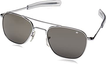 American Optical Original Pilot Eyewear 55mm Silver Frame with Bayonet Temples and True Color Gray Glass Lens
