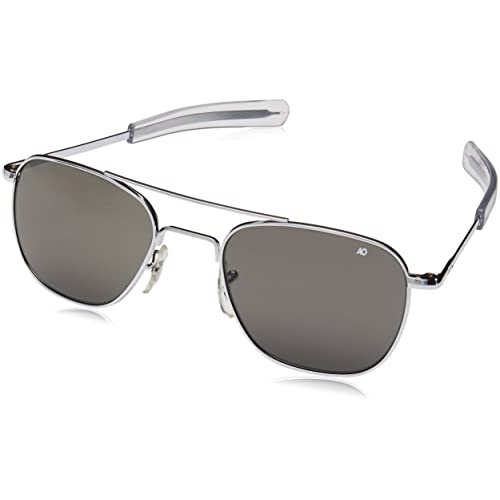 bec7284a1fb American Optical Original Pilot Eyewear 55mm Silver Frame with Bayonet  Temples and True Color Gray Glass