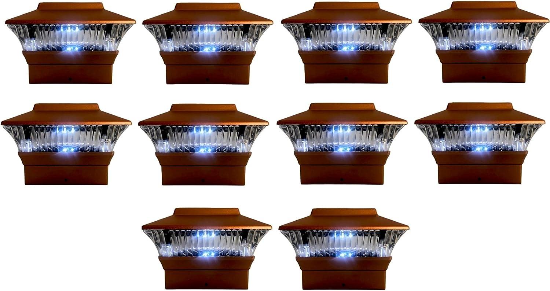10 Super sale Pieces Solar Coper Color Square Mount Ligh Fence Post PVC Max 45% OFF Cap