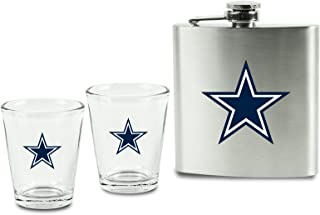 NFL Shot Glasses and Brushed Stainless Steel Flask Set