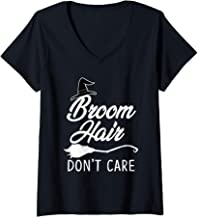 Womens Broom Hair Don't Care Witch Hat Halloween Funny  V-Neck T-Shirt