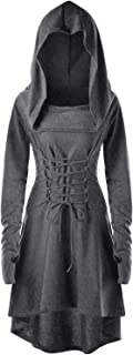 Womens Renaissance Costumes Hooded Robe Lace Up Vintage Pullover High Low Long Hoodie Dress Cloak