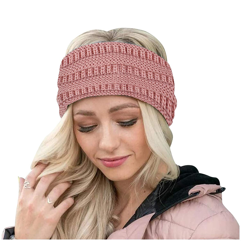 Womens Winter Ear Warmer Headband - Warm Winter Cable Knit Headband, Soft Stretchy Thick Fuzzy Headwrap Earwarmer (04-Pink)