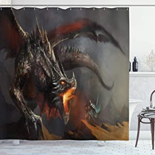 """Ambesonne Medieval Shower Curtain, Fantasy Scene Fearless Knight with Dragon Art Antique Fantasy, Cloth Fabric Bathroom Decor Set with Hooks, 75"""" Long, Dimgrey Charcoal"""