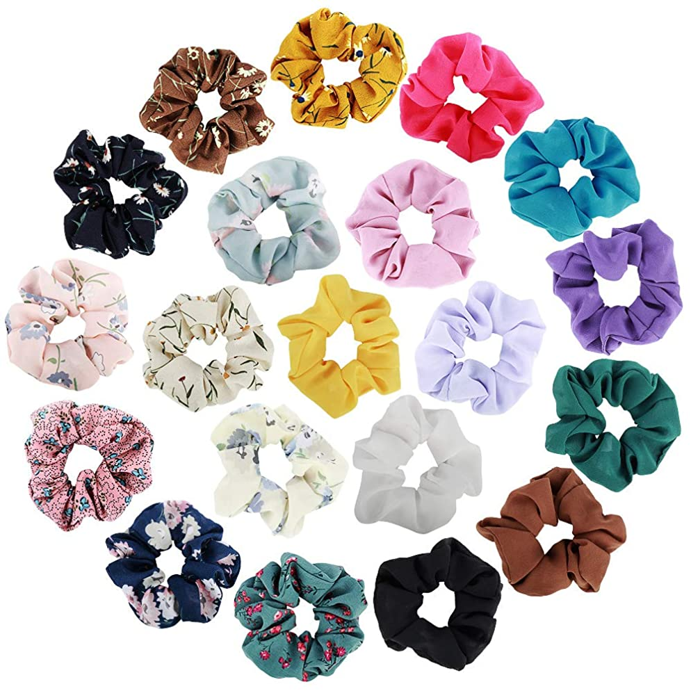 Hair Scrunchies,Cehomi 20Pcs Chiffon Elastic Hair Bands Scrunchy Hair Bow Ponytail Holder Scrunchies for Hair Ties for Women or Girls- Rubber Band Flower Colors & Solid Colors Per 10pcs