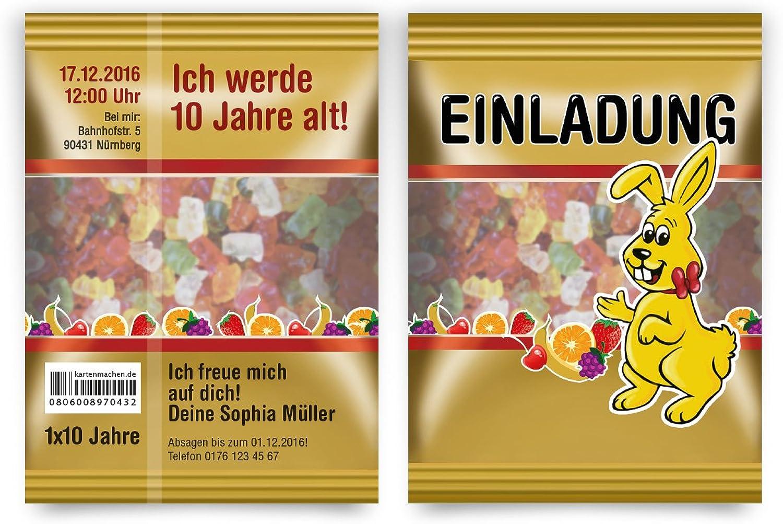 Einladungskarten (40 Stück) Kindergeburtstag Geburtstag - Gummibärchen Hase Tüte Motiv Einladung B01JIOYHMU  | Shopping Online