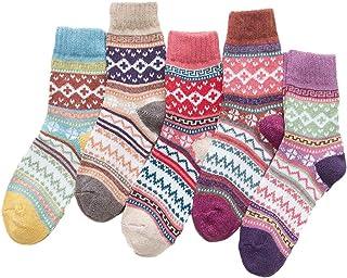 Dawwoti, 5 Pares De Equipo De Las Mujeres Calcetín Casual Comodidad Se Funden Calcetines Regalo Libre De La Navidad Tamaño Del Calcetín Grueso