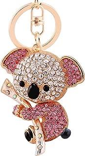 EASYA Key Keychain Cute Animal Keychains Crystal Rhinestone Key Chain Charm Pendent for Women Handbag Purse Bag Keyrings Charm Gift(Pink)