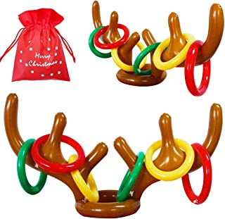 MeiGuiSha Inflatable Reindeer, 2 Pack Inflatable Reindeer Antler Ring Toss Game for Christmas Party (2 Antlers& 12 Rings&1 Gift Bag)