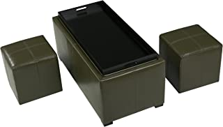 Christopher Knight Home 296830 August Tea Green 3-Piece Leather Tray Top Nested Storage Ottoman Bench