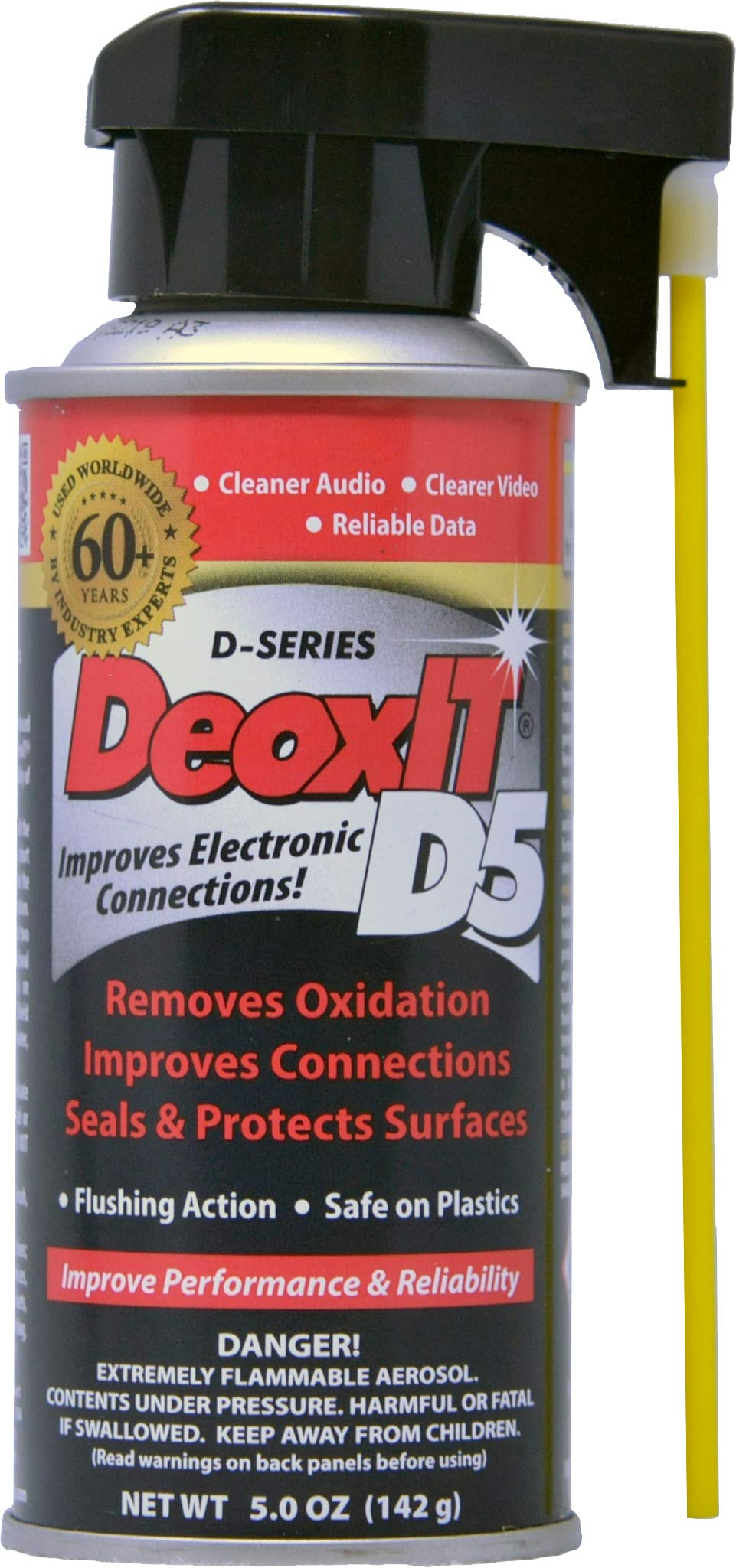DeoxIT D5S-6 Spray, More Than A Contact Cleaner, 142g, Integrated Straw, Pack of 1