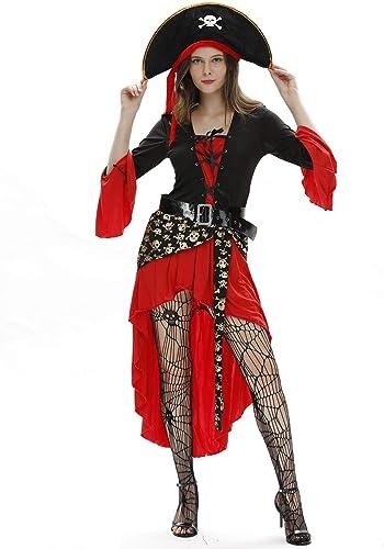 LVLUOYE Cosplay Halloween-Partei-Erscheinen Kapit K gin-Piraten-Kostüm-Dame-Karnevals-Thema-Maskerade-Accessoires