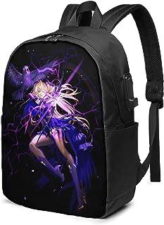 Mochila de viaje multifuncional, 17 pulgadas Gen-Shin Im-pact, mochila de hombro con puerto de carga USB y orificio para auriculares.