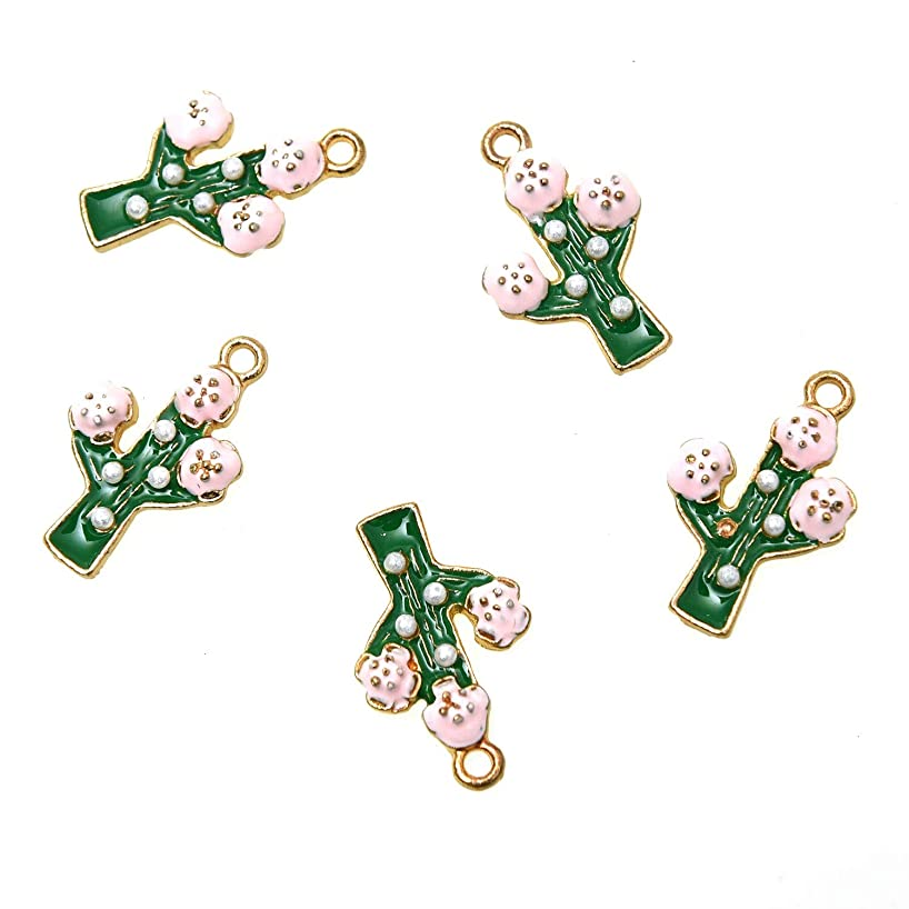 Monrocco Pack of 20 Enamel Cactus Charm with Flower Zinc Alloy Jewelry Making Charms Findings - 3D Design