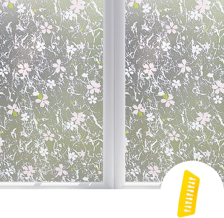 Window Privacy Film Frosted Stickers Light Window Film Opaque Glass Stickers Bathroom Kitchen 45X100cmx8pcs,E,45X100cmx8pcs