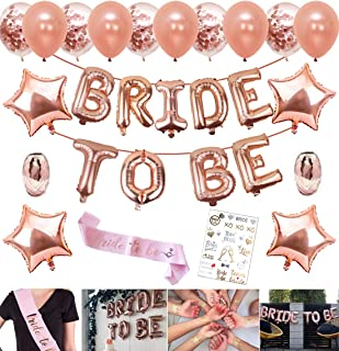 Party Propz Rose Gold Bride to Be Letter Balloons and Metallic Confetti Balloons Star Foil Balloons; Sash and Ribbons Set ...