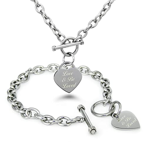 7b77abc69 Tioneer Stainless Steel Love & Be Loved Engraved Heart Tag Toggle Bracelet  and Necklace