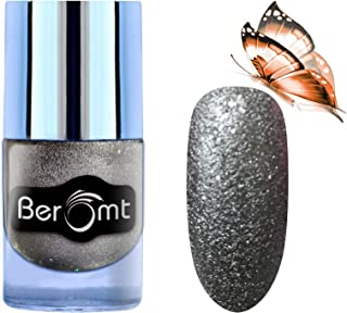 Beromt Sparkle Sand Nail Polish | Nail Art Effect | 9 to 5 Long Wear Nail Color | Color Crush Nail Art | Black, 604, 10 ml