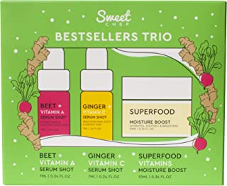 Sweet Chef Holiday Bestsellers Trio - 3-Piece Gift Set for Her - Beet + Vitamin A Serum, Ginger + Vitamin C Serum, Superfo...