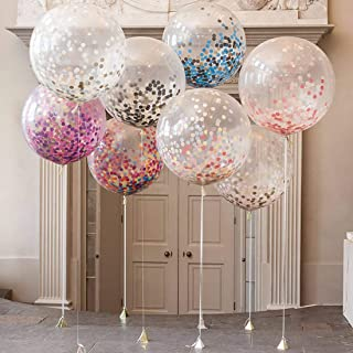 New Festival Party Supplies 36 inch Round Transparent Colorful Confetti Balloon Wedding Arrangement Large Confetti Ballons...