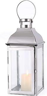 JHY DESIGN Lyktor i rostfritt stål för ljus, 31,5 cm höga ljuslyktor med härdat glas utomhuslyktor för trädgård inomhus ut...