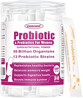 Probiotics for Women 50 Billion CFU, 13 Strains, Supports Vaginal, Digestive and Immune Health, Prebiotic Fiber No Refrigeration, Gluten & Soy Free 30 Bags