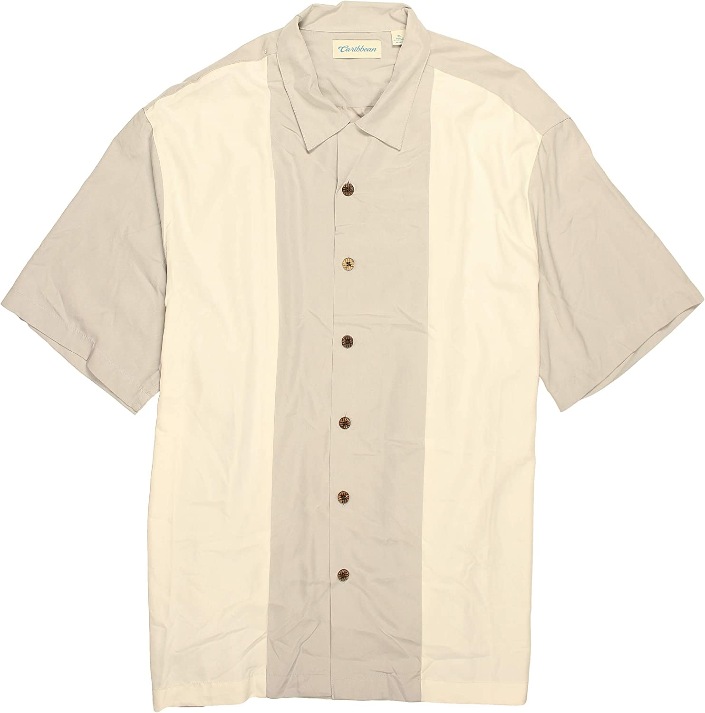 Caribbean Men's Panel Stripe Shirt Luxuriosly Soft Modal Blend Short Sleeves