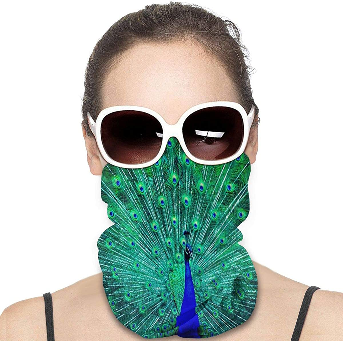 KiuLoam Women Bandanas Face Mask, Nature Peacock Beautiful Feather Neck Gaiter Mask Headband for Men Face Scarf Dust, Outdoors, Sports