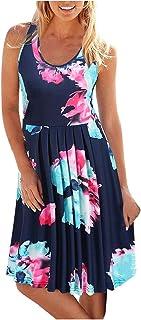 فساتين ميدي للنساء فستان صيفي كاجوال بدون أكمام مطبوعة برقبة دائرية فستان صيفي للسيدات للشاطئ