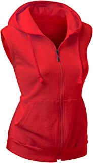 Women's Basic Solid Cotton Based Zipper Vest Hoodie