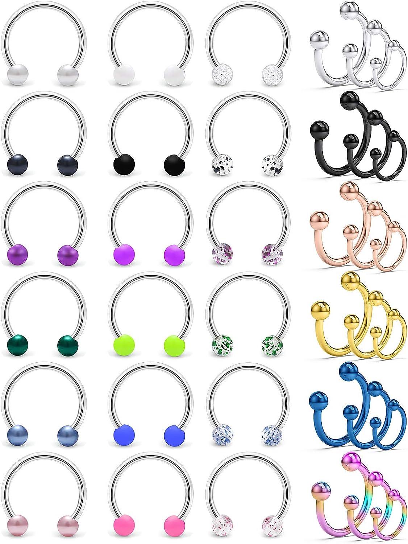 SCERRING 16G Septum Hoop Nose Rings 316L Stainless Steel Horseshoe Nose Hoop Ring Cartilage Daith Lip Tragus Earrings Retainer Body Piercing Jewelry 36PCS