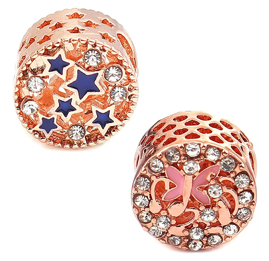 12mm Spacer Bead Charms, 6 Pack with 4.5-6mm Holes for European Bracelets (Set D, Stars and Butterfly Gold Tone)