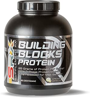 Supplement Rx (SRX) - Building Blocks Protein Creamy Vanilla 4lbs, Whey Protein Concentrate, Whey Protein Isolate, Egg White Protein Powder, Weight Loss, Gluten Free, BCAA, L-Arginine, Protein Shake