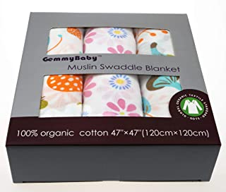 GemmyBaby Swaddle Blanket, 100% Organic Cotton Muslin Blankets for Girls & Boys, Baby Receiving Swaddles, Ideal Newborn Gi...