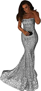 Shindress Women's Sequins Prom Dresses Long 2019 Mermaid Style Formal Evening Gown SP084
