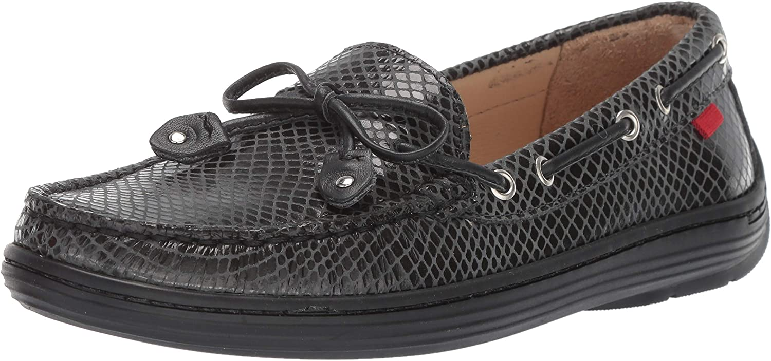 MARC JOSEPH NEW YORK Unisex-Child Leather Boys/Girls Casual Comfort Slip on Moccasin Tie-Bow Loafer Driving Style