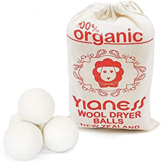Yianess 6 Piece Wool Dryer Balls Pure Non Toxic New Zealand Wool, Hand Made Natural Fabric Softener